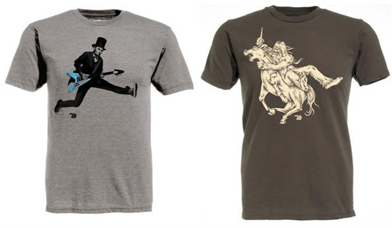 """Clothing from the Ames Bros including """"Bigfoot vs. Unicorn"""" (right)"""