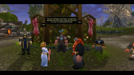 A screenshot of a World of Warcraft wedding.  Credit revdebi.