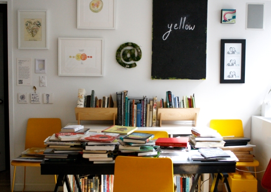 Popova's home office in Brooklyn, NY, where stacks of books rule the roost.