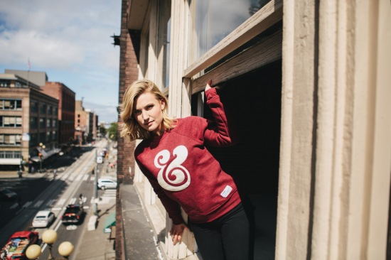 A model showcases the Ampersand Crewneck