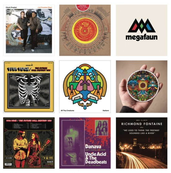 A collection of record jackets designed by Draplin.
