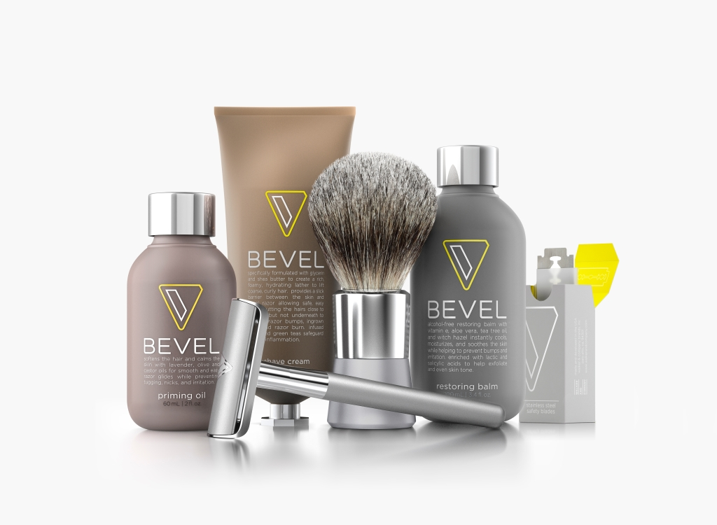 The Bevel suite of products, from razors to shaving cream to brushes. Image courtesy of Walker.