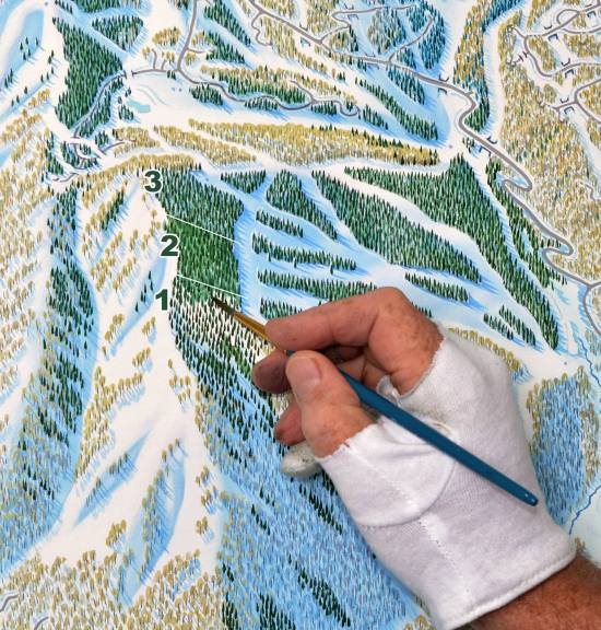 Niehues paints the trees in multiple phases.