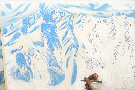 Niehues airbrushes the larger geographic features, like the snow and the shadows.
