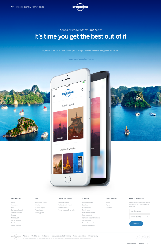 From top: the progress of a Lonely Planet mobile site