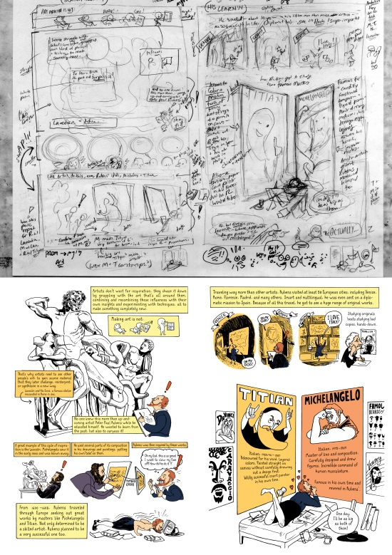 Prometheus comic in process and final (first 2 pages). [Click to enlarge]