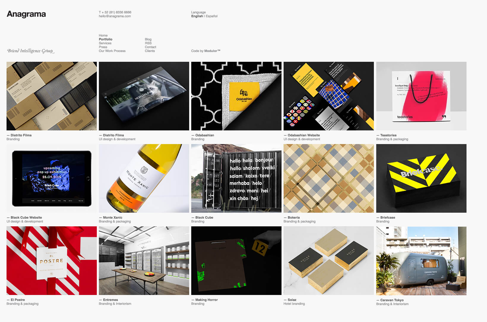 Grid of images as an example of branding portfolio.