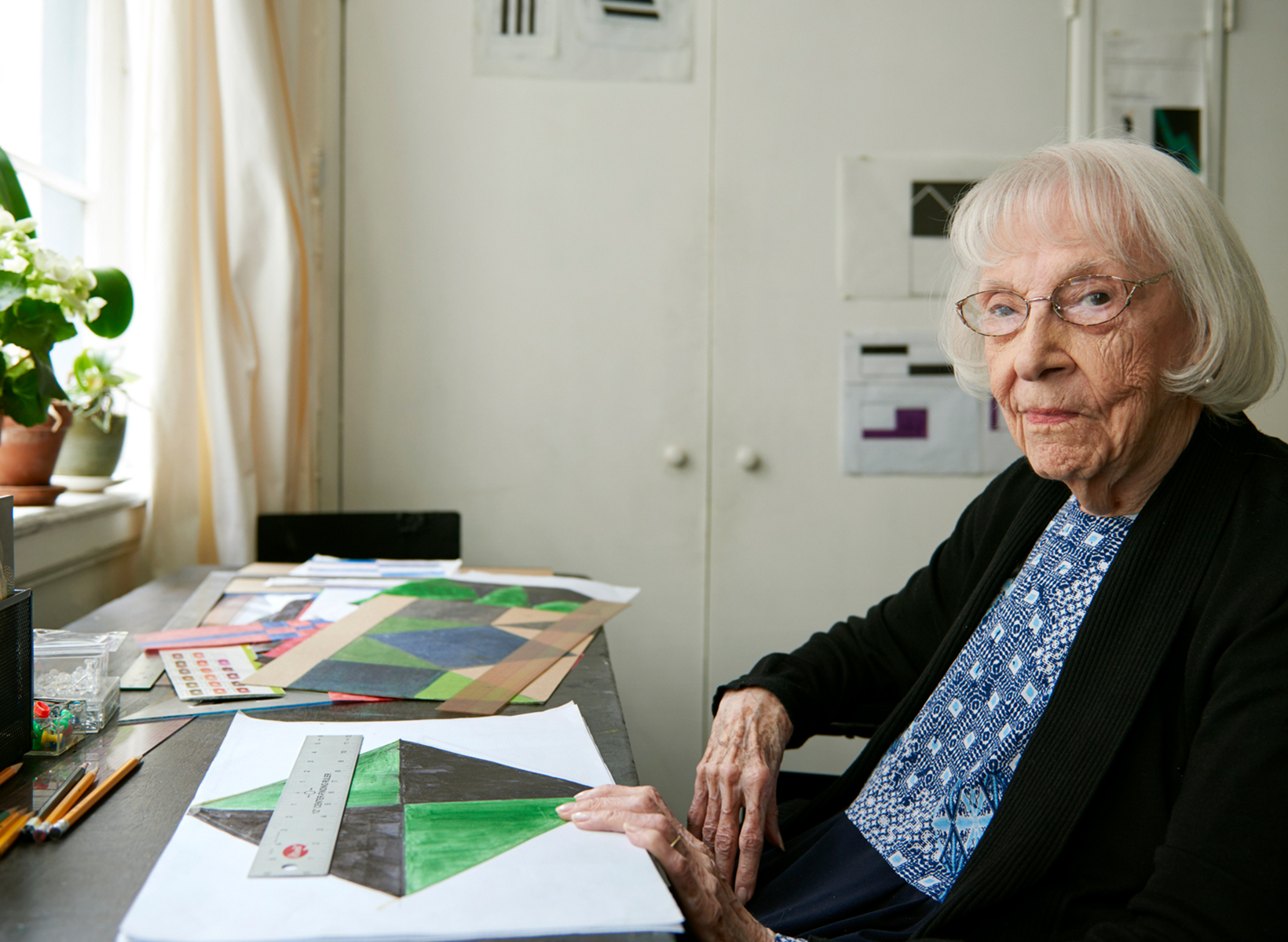 Carmen Herrera photographed in her New York studio. Image courtesy of Herrera.