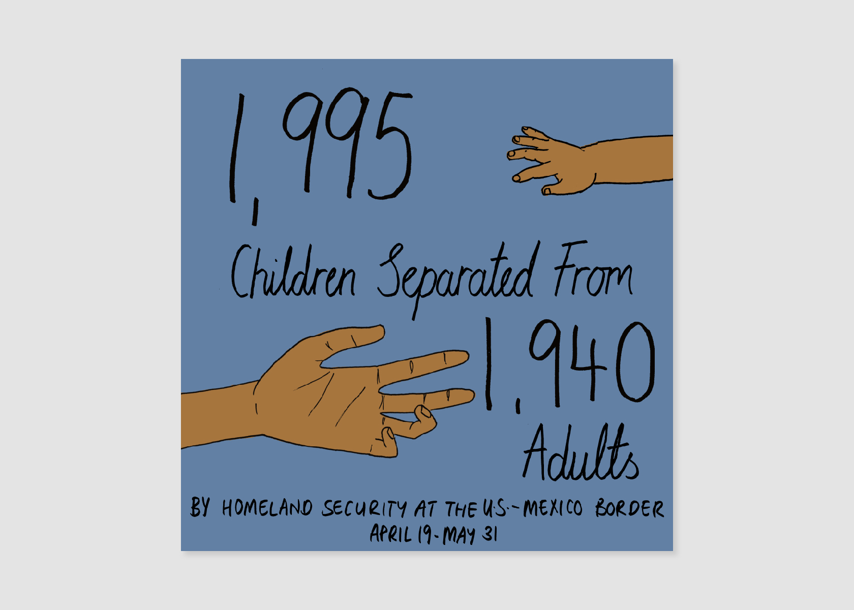 This personal piece by Mona Chalabi shows that 1,995 children were separated from their parents in the spring of 2018.