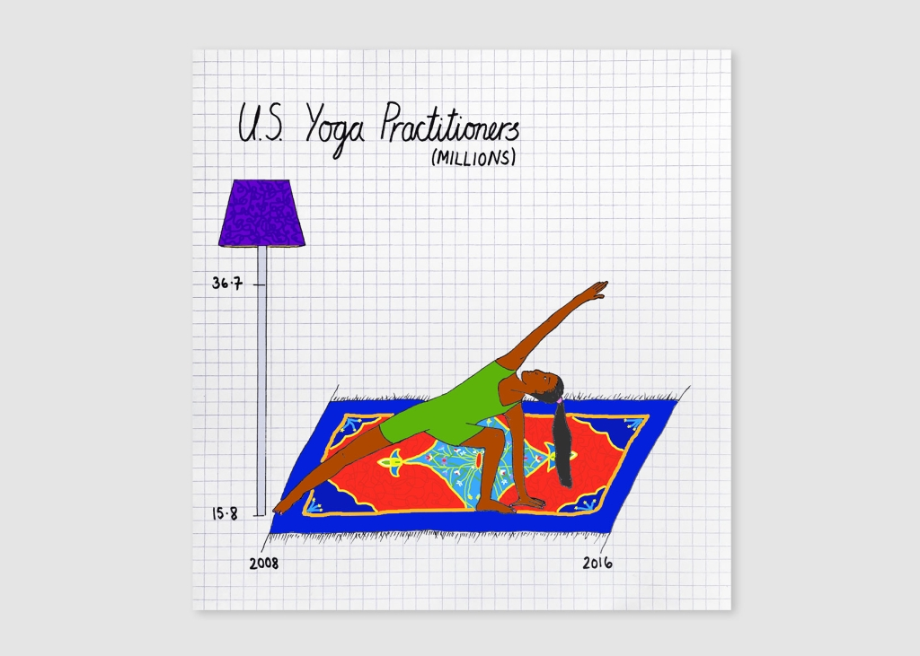 Mona Chalabi uses images to provide context in her data sets, like a person practicing yoga, for a yoga data set. Image courtesy of Chalabi.
