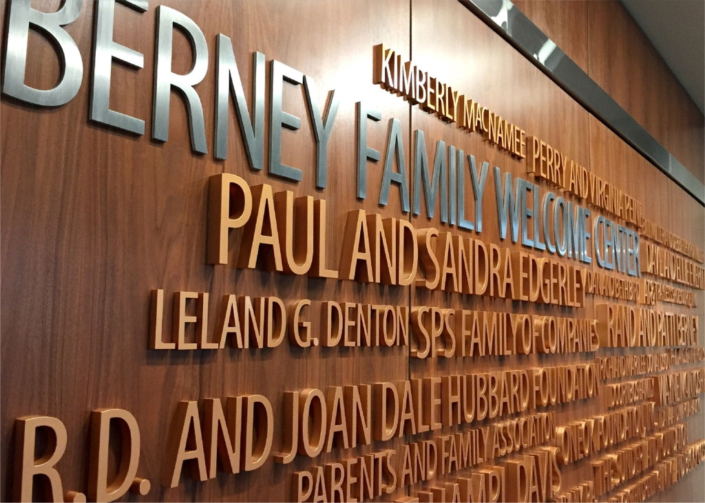 The final donor recognition wall display in the Berney Family Welcome Center at Kansas State University.