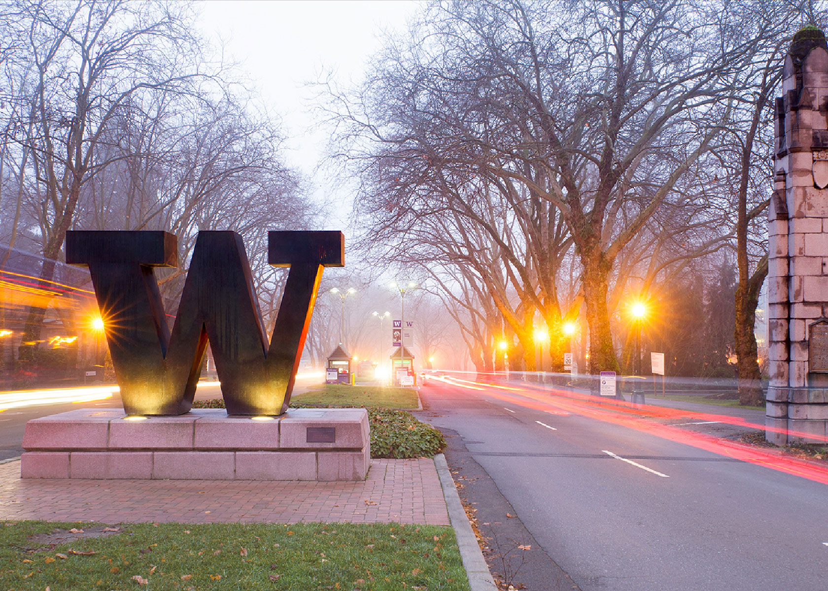 """A giant """"W"""" welcomes visitors to the University of Washington campus."""