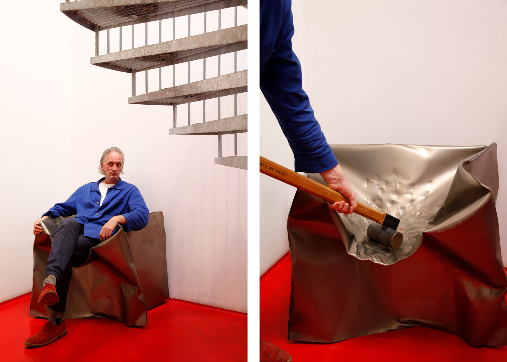 Kessels reclining in what appears to be warped metal, but is actually a functioning chair. Photographed by