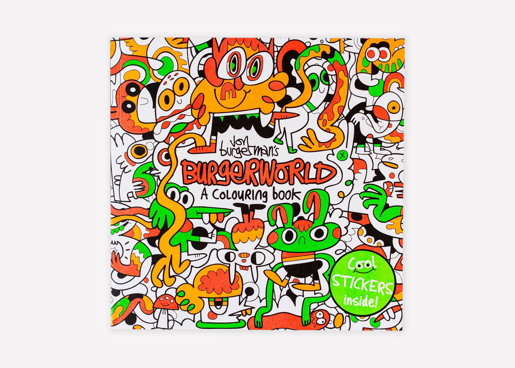 The cover of Burgerman's coloring book of the intricate land of Burgerworld. Image courtesy of Jon Burgerman