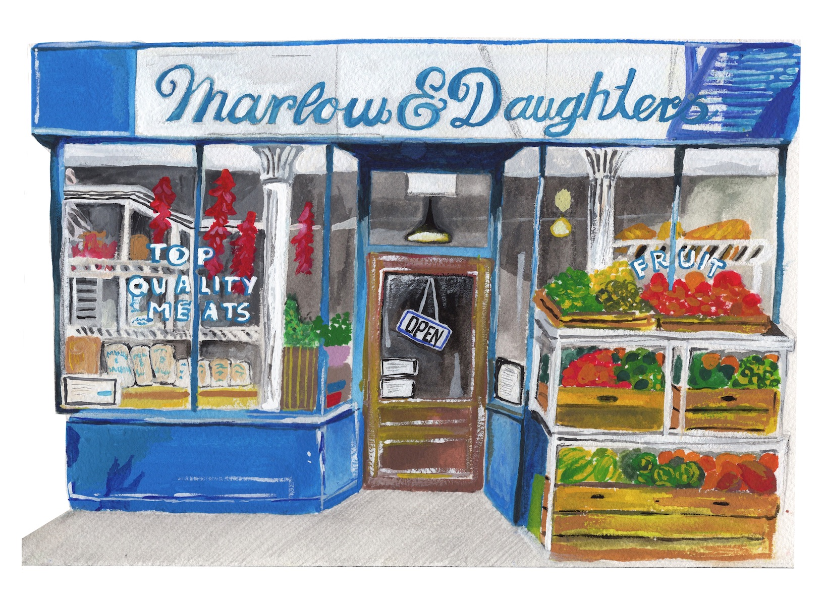 A drawn illustration of a restaurant with the name Russ and Daughters over the Door