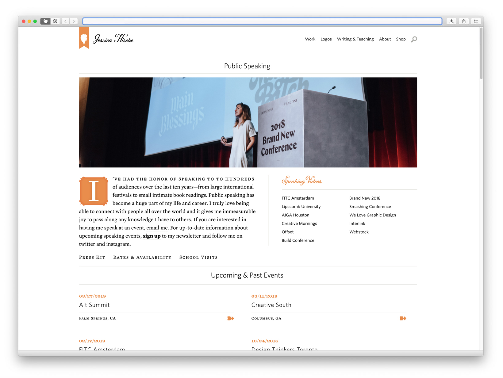 Web page featuring image of woman speaking on stage