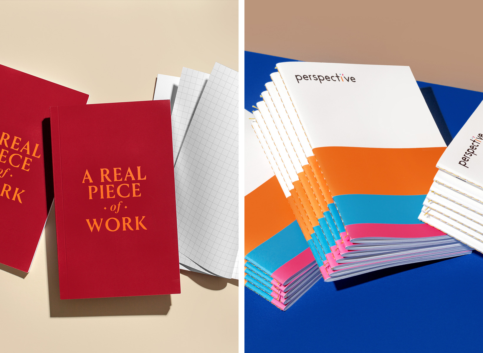 Side by side examples of Paper Chase Press client commissions.